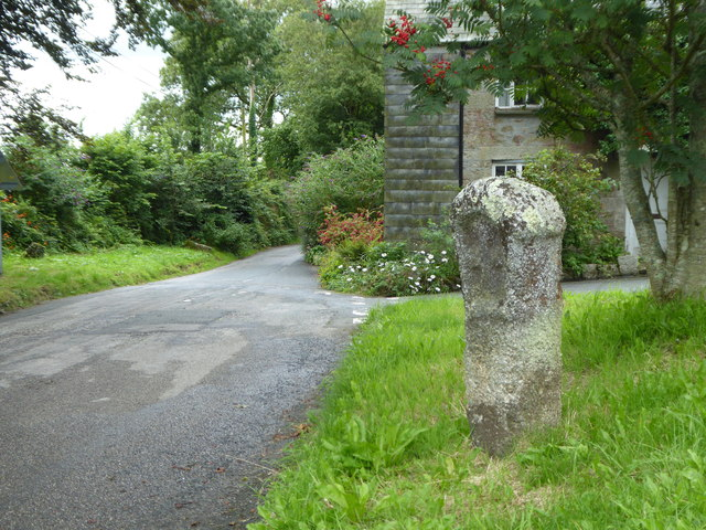 Ancient cross beside the road at Blisland