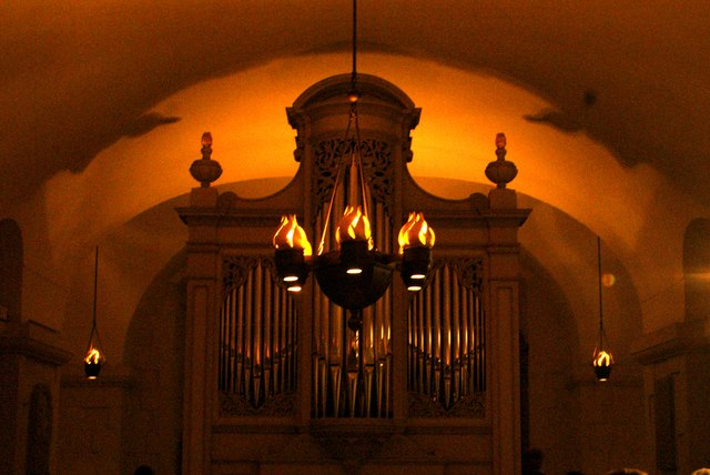 View of an organ and light in the crypt of St. Paul's Cathedral
