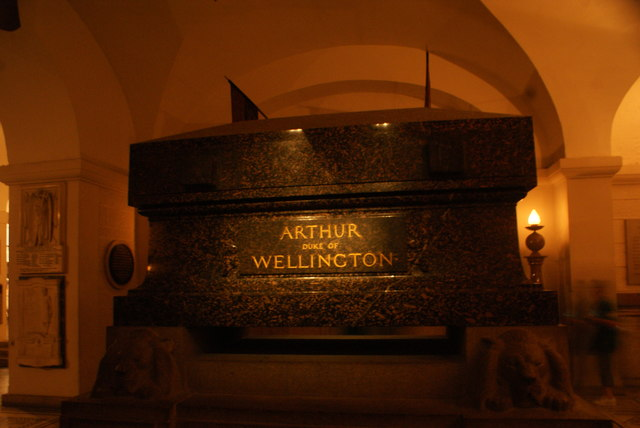 View of Arthur, Duke of Wellington's tomb in the crypt of St. Paul's Cathedral