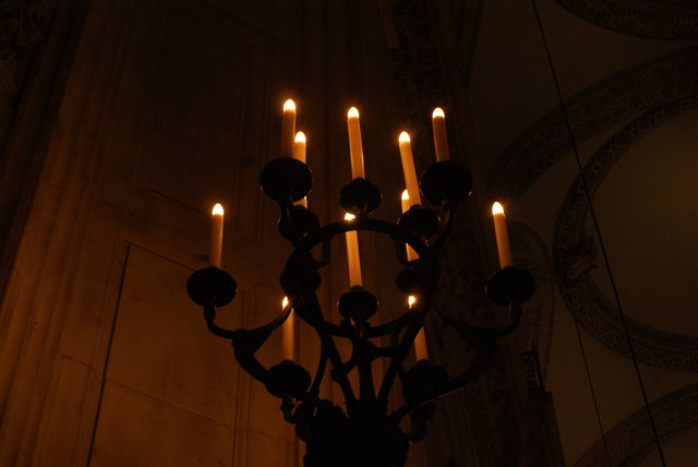 Looking up at a candelabra in the main hall of St. Paul's Cathedral #2
