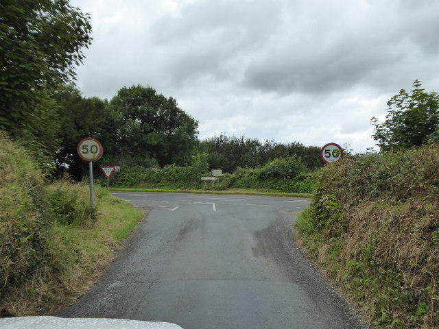 Junction of a minor road with the B3266 near Tinten Manor