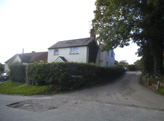Flowers Bottom Lane at the junction of Grubbins Lane