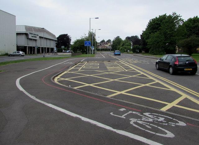 Bend in Angel Street cycle lane, Bridgend