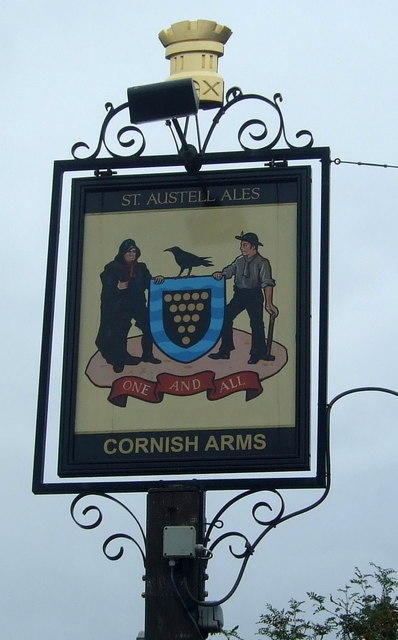 Sign for the Cornish Arms public house, Hayle