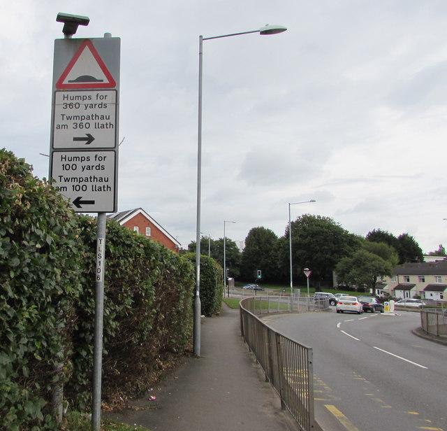 Humps warning sign, Victoria Street, Cwmbran