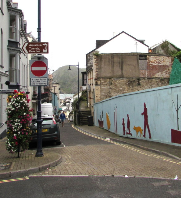 Qualified No Entry sign, Fore Street, Ilfracombe