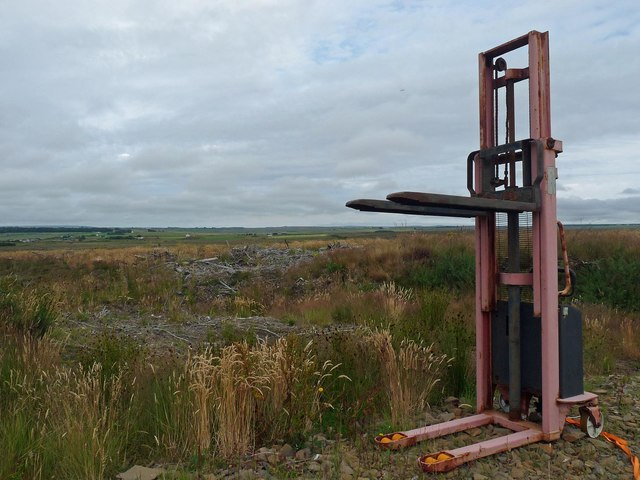 Forklift by clearfell, North Quintfall Forest, Caithness
