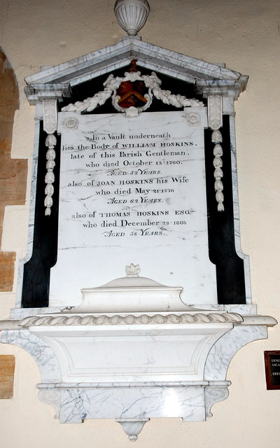 Hoskins memorial, Haselbury Plucknett church