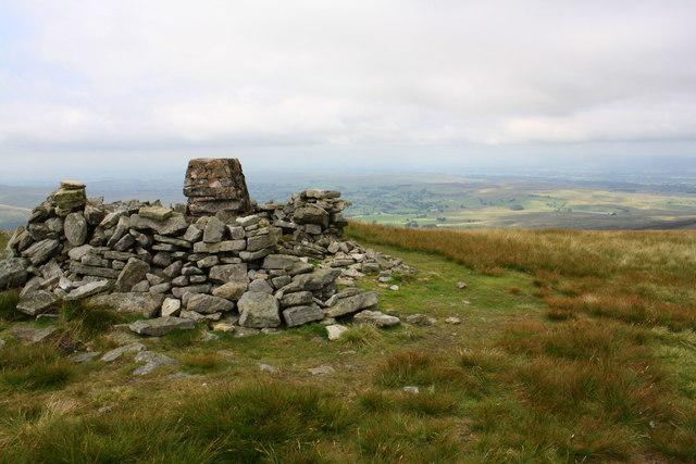 Triangulation pillar at summit of Wild Boar Fell