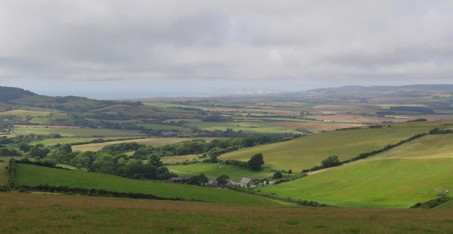View over Newbarn Farm and West Wight