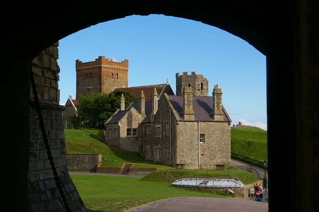 Dover Castle: St Mary in Castro church and Roman lighthouse, from the castle gatehouse