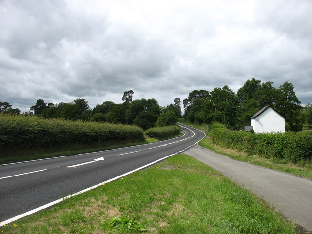 The A44 heading for Rhayader