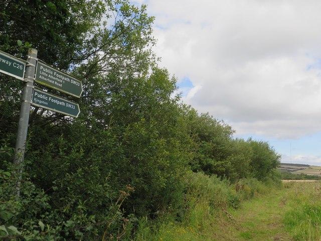 Public footpath SW33 at Corve Farm, West Wight