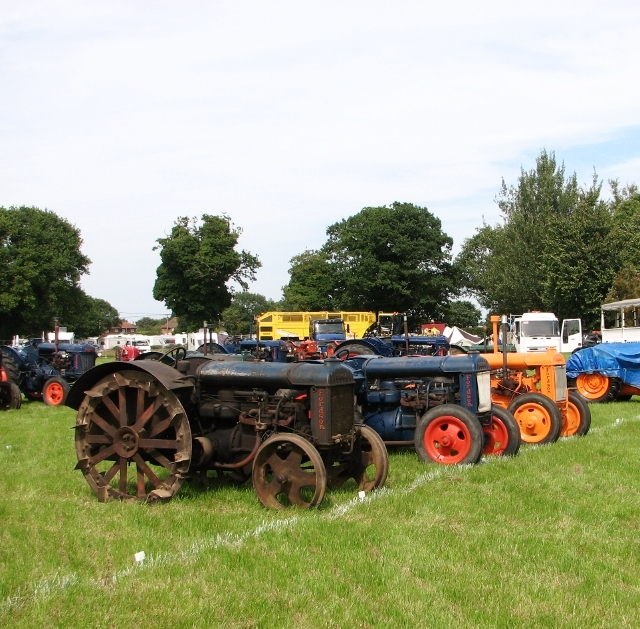 Various Fordson tractor models on display