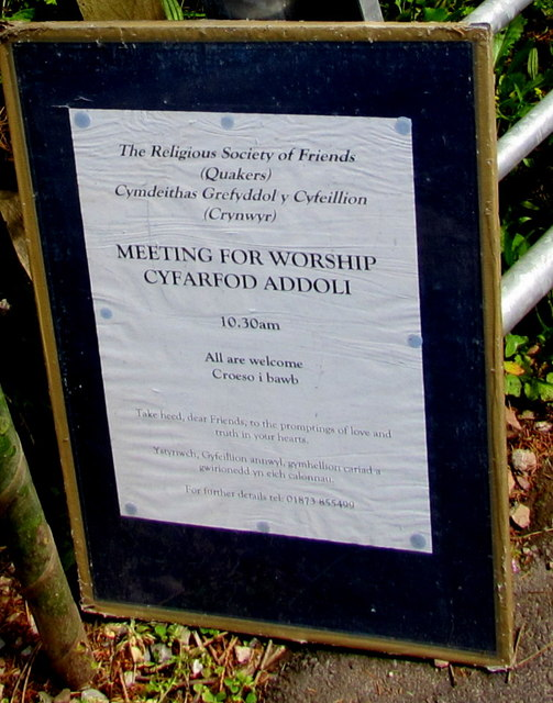 Quakers Meeting for Worship notice, Llanfoist