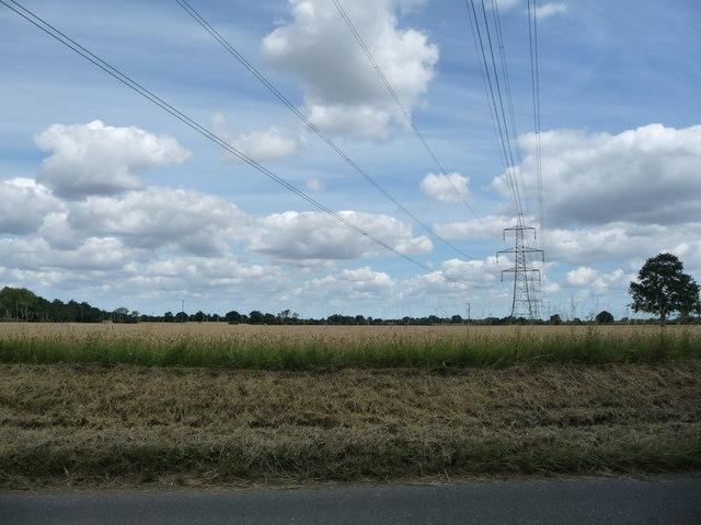 Power lines crossing farmland west of Yaxley