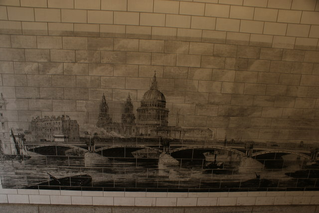 View of tile art of St. Paul's Cathedral in the tunnel under Blackfriars Station