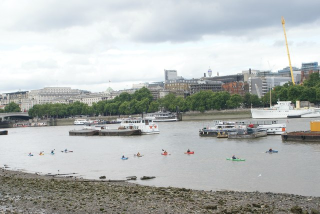 View of canoeists on the river near the OXO Tower from the South Bank