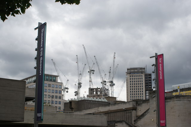 View of a myriad of cranes above the Hayward Gallery from the South Bank