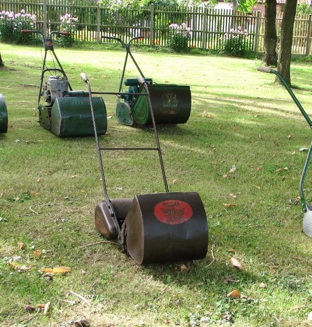 Vintage lawnmowers on display - The Webb Wasp