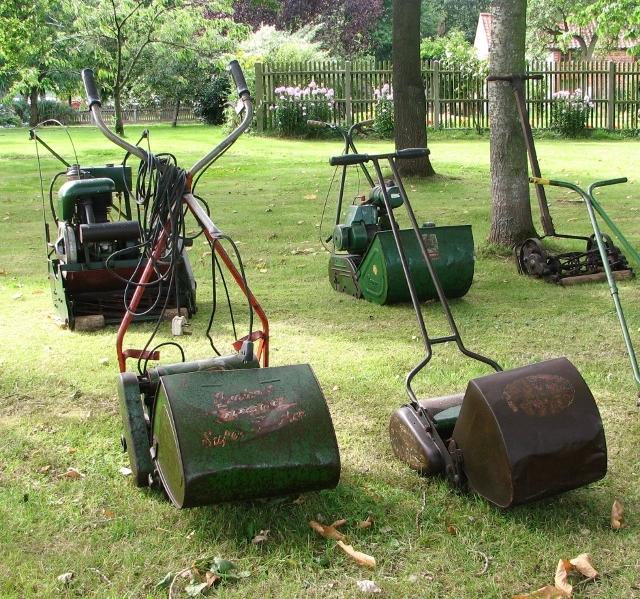 Vintage lawnmowers on display