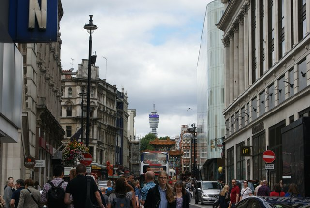 View of the BT Tower from Whitcomb Street