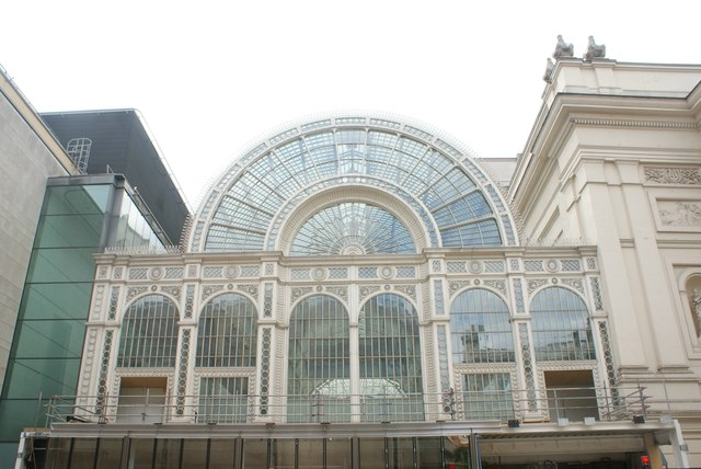 View of the glass frontage of the Royal Opera House from Bow Street