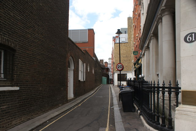 View up Star Yard from Carey Street