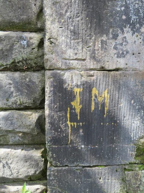 Bench mark on the Northern Line railway bridge