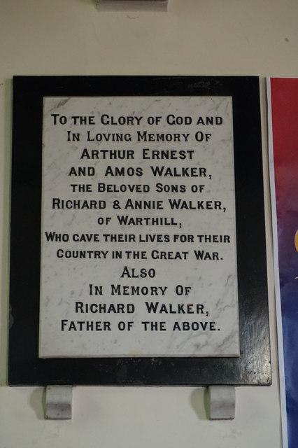 War memorial plaque to the Walker Bothers