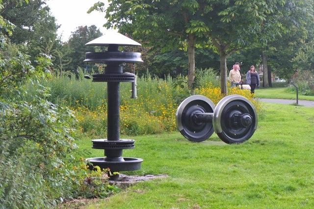 Train wheels on display, Figgate Burn Park