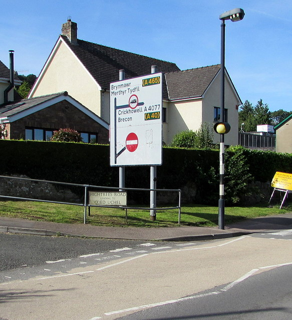 Directions sign on a Gilwern corner