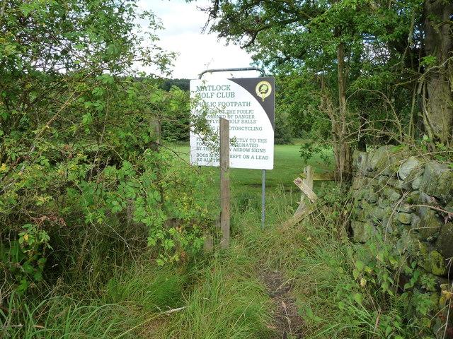 Public footpath entrance, Matlock Golf Club