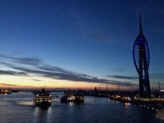 Portsmouth Harbour at dusk
