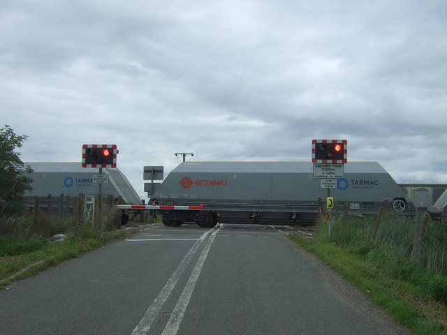 Freight train passing Welney Road Level Crossing, Manea