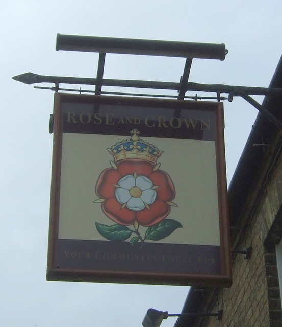 Sign for the Rose and Crown, Manea