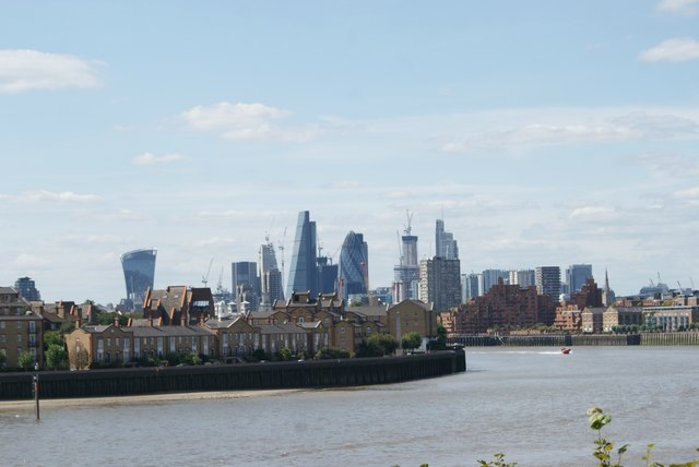 View of the Walkie Talkie, Cheese Grater, Gherkin and Heron Tower from Canary Riverside