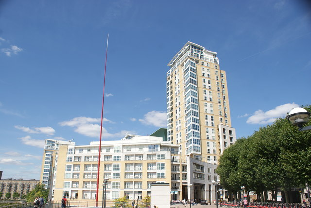 """View of Circus Apartments and Ron Arad's """"Windward"""" from Canary Riverside"""