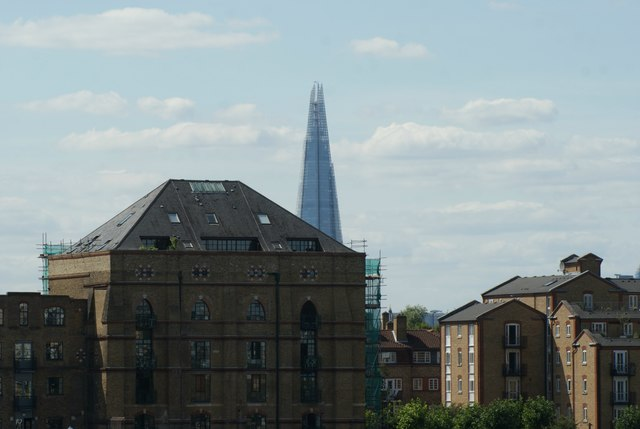 View of Canada Wharf and the Shard from Canary Riverside