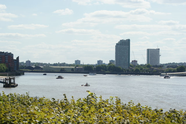 View of towerblocks in Deptford from Canary Riverside #2