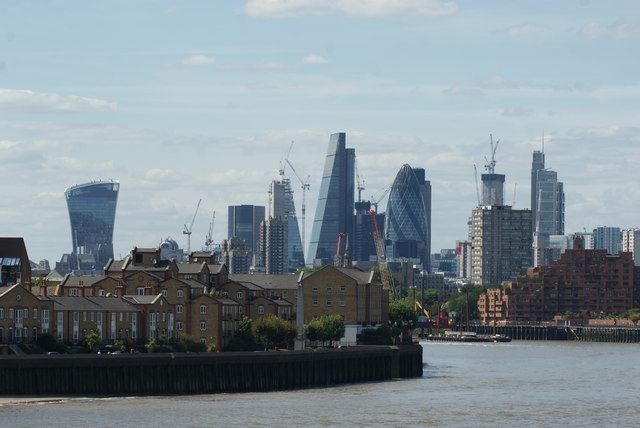 View of the Walkie Talkie, Cheese Grater, Gherkin and Heron Tower from Canary Riverside #2