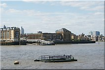 TQ3680 : View of Columbia Wharf from the Thames Path by Robert Lamb