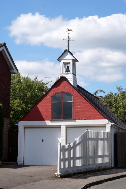 A garage with a bell tower, Bell Lane Close, Fetcham