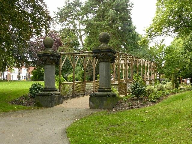 Pergola and marble pillars, Victoria Park, Ilkeston