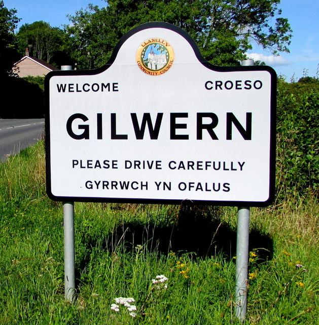 Gilwern boundary sign