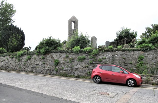 The steeple of the ruined Templecranny Church at Portaferry