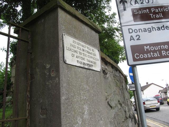 Reward Notice on the gate pillar of Templecranny Church, Portaferry