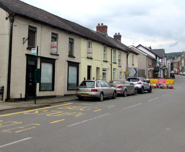Houses, cars and diversion signs, Main Road, Gilwern