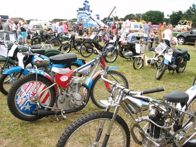 Vintage motorcycles on display