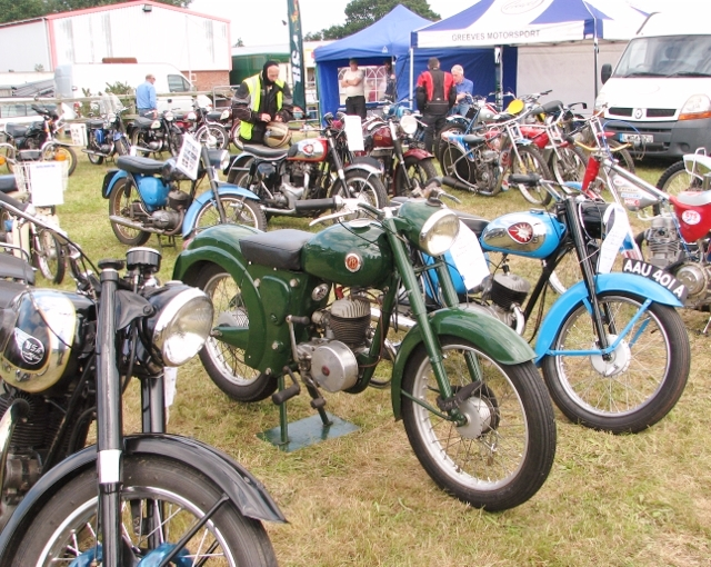 Vintage motorcycles on display